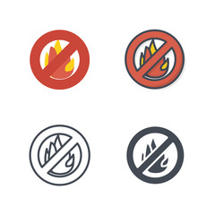 Fire sign Firefight service job icon vector flat silhouette line colored