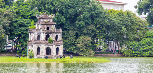 Turtle Tower, also called Tortoise Tower is a small tower in the middle of Sword Lake, Hanoi, Vietnam Wall mural