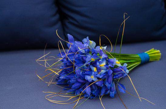 Beautiful blue iris flowers in a bouquet