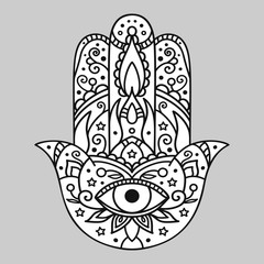 Vector illustration. Hamsa on a gray background