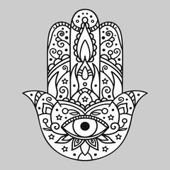 Vector illustration. Hamsa on a gray background