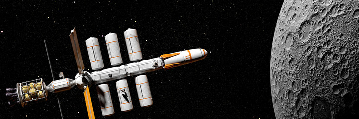 spaceship mission to the Moon, starship in outer space