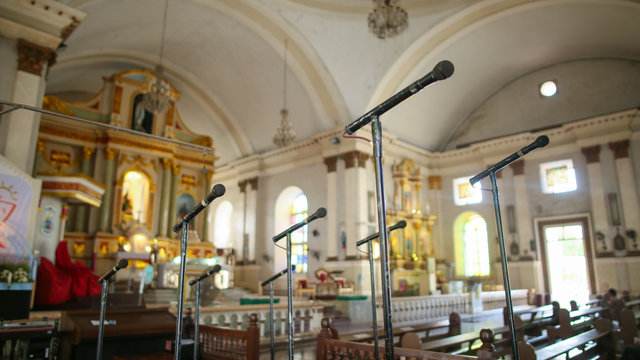Numerous microphones for the church choir in one of the churches of the Philippines.