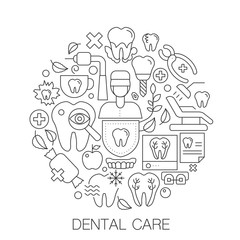 Dental care in circle - concept line illustration for cover, emblem, badge. Dental care thin line stroke icons set.