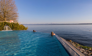Vie from the pool at Lake Constance