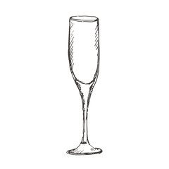 Hand drawn empty glass of champagne. Sketch, vector illustration.