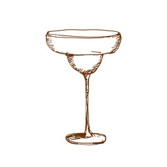 Hand drawn margarita glass. Sketch, vector illustration.