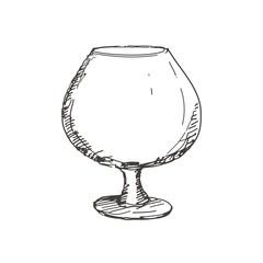 Hand drawn glass of cognac. Sketch, vector illustration.