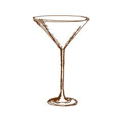 Hand drawn martini glass. Sketch, vector illustration.