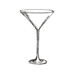 Hand drawn martini glass. Sketch, vector illustration.