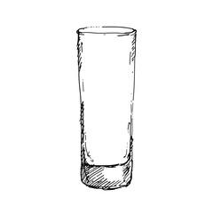 Hand drawn highball glass. Sketch, vector illustration.