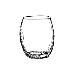Hand drawn rocks glass, empty whisky glass. Sketch, vector illustration.
