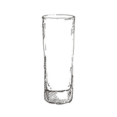 Hand drawn highball glass. Sketch, vector illustration.