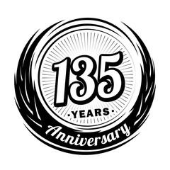 135 years anniversary. Anniversary logo design. 135 years logo