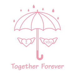 Two hearts with wings under an umbrella.