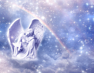 Wall Mural - angel archangel Haniel over mystical, angelic divine background with rainbow and stars