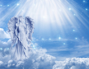 angel archangel Gabriel, Ariel, over mystical, angelic divine background with rays of light and stars