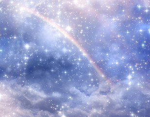 Wall Mural - divine, mystical, angelic blue background with cloudy sky, rays of light and stars