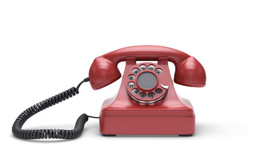 Red retro telephone with clipping path