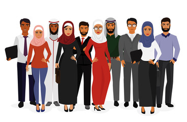 Vector illustration of groupe arab man and woman business people standing together in traditional islamic clothes on white background in flat style. Arabic characters businessmen and businesswomen.