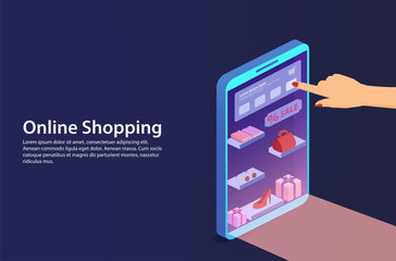 Concept online shopping from smartphone. Hand makes purchase using smartphone.