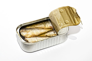Open can with canned seafood close-up on a white background
