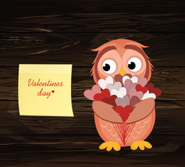 Cute owlet waiting to give a  of flowers of hearts as a gift