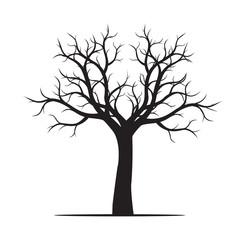 Shape of black naked Tree. Vector Illustration.