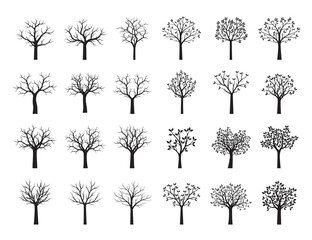 Set Black Trees with Leaves. Vector Illustration.