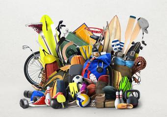 Sports equipment has fallen down in a heap