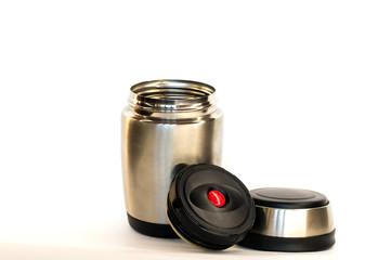 travel thermos, thermo mug on white background