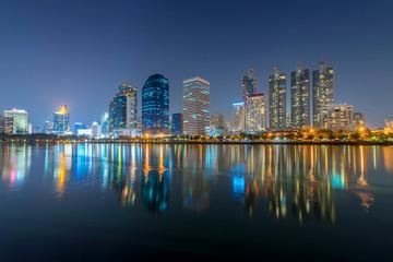 Bangkok city - Cityscape downtown   Business district urban area , reflection landscape Bangkok Thailand