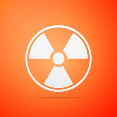 Radioactive icon isolated on orange background. Radioactive toxic symbol. Radiation Hazard sign. Flat design. Vector Illustration