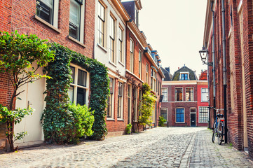 Beautiful street in Leiden, Netherlands