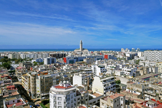 Panoramic aerial view of casablanca, with Hassan II Mosque, Morocco.