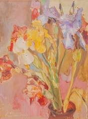 Multicolored irises. Sketch from life. Candid.