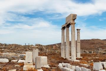 Pillar in Historical Ruins in Delos