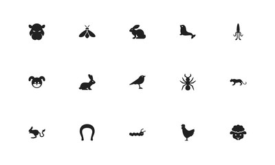 Set of 15 editable zoology icons. Includes symbols such as bunny, dog, horseshoe and more. Can be used for web, mobile, UI and infographic design.