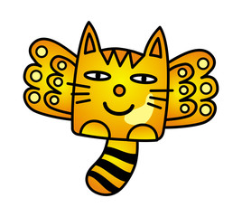 Cat with wings in flight. Funny cartoon picture. Vector graphics