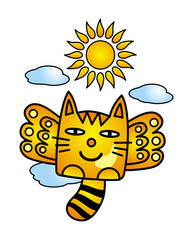 Cat with wings in flight among the clouds under the sun. Funny cartoon picture. Vector graphics