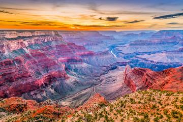 Fototapete - Grand Canyon, Arizona, USA at dusk from the south rim.