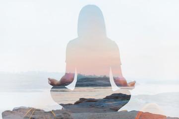 Double exposure of yoga pose landscape