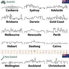 Fototapete - vector outline icons of Australia and New Zealand cities skylines