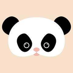 panda   face head vector illustration flat style front
