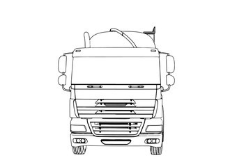 sketch of a truck with a tank vector
