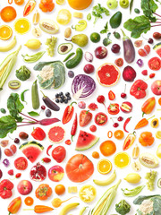 Fototapete -  pattern of various fresh vegetables and fruits isolated on white background, top view, flat lay. Composition of food, concept of healthy eating. Food texture.