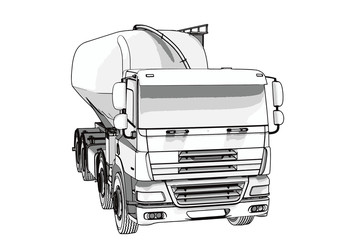 sketch of a truck with a tank vector.