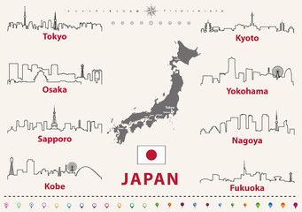 Wall Mural - vector outline icons of Japan cities skylines with japanese flag and map