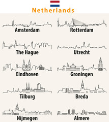 vector outline icons of cities Netherlands skylines