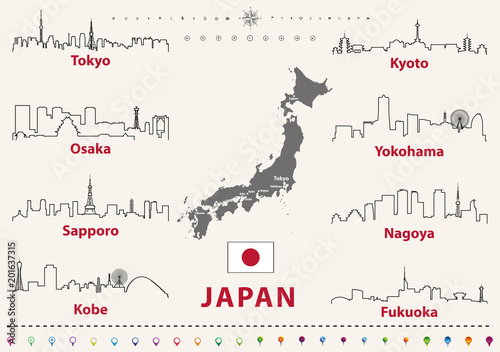 Fototapete vector outline icons of Japan cities skylines with japanese flag and map